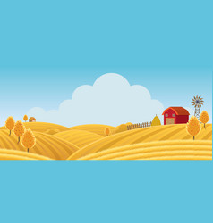 Farm on hill with yellow or gold field background vector