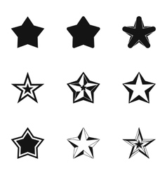 Figure star icons set simple style vector