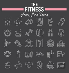 fitness line icon set sport symbols collection vector image