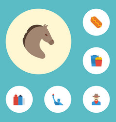 Flat icons sausage metropolis snack and other vector