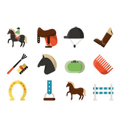 flat icons symbols of equestrian sport vector image