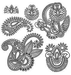 Flowers and Paisley design element vector image