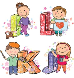 Funny alphabet with kids IJKL vector