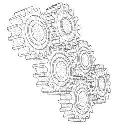 gear wheel rendering of 3d wire-frame vector image