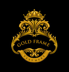 gold premium frame with crown vector image