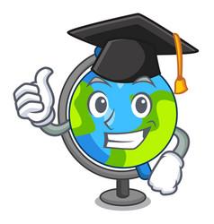 Graduation globe character cartoon style vector