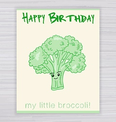 greeting card with cute smile broccoli on a wooden vector image