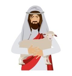 half body jesus carrying a sheep vector image