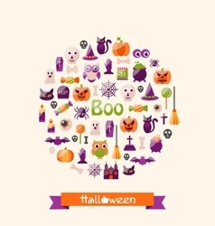 Halloween Colorful Flat Icons Party Background vector