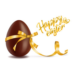 happy easter card chocolate egg with yellow vector image