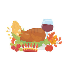 happy thanksgiving day dinner wine corn and turkey vector image