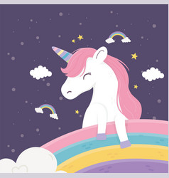 happy unicorn rainbows clouds stars fantasy magic vector image
