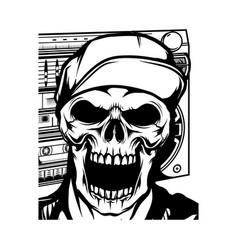 head skeleton wearing cap vector image