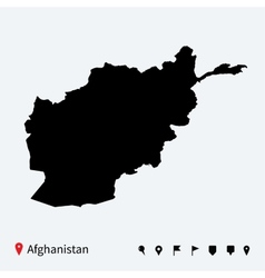 High detailed map of Afghanistan with navigation vector