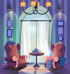 home interior with armchairs and coffee table vector image