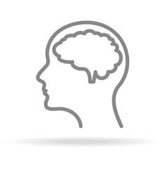 Human brain neurology icon in trendy thin line vector