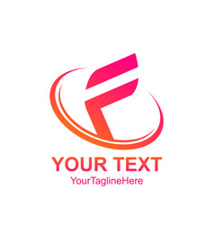 initial letter f logo template colorfull swoosh vector image