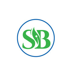 Initial letter logo sb with leaf vector