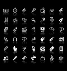 internet media application icon set vector image