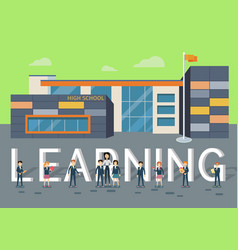 Learning in upper school flat style concept vector