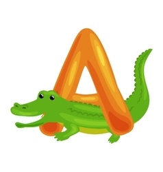 Letter A with Aligator animal for kids abc vector