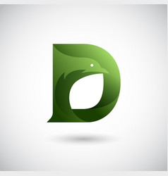letter d with dove logo concept creative and vector image