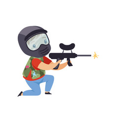 Little boy wearing mask and vest aiming with gun vector