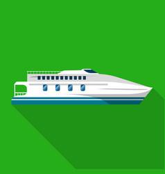 luxury yacht ship icon flat style vector image