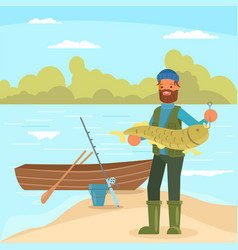 man holding big fish in flat vector image