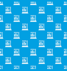 Medical test tubes in holder pattern seamless blue vector