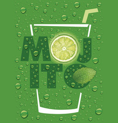 mojito text with lime slice and mint leaf vector image