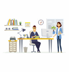Office meeting - modern cartoon business vector