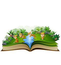 Open book with group of tiger cartoon vector