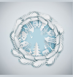 Paper art cristmas circle vector
