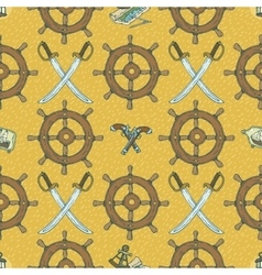 Pirate Seamless Pattern with Retro Ship Ste vector