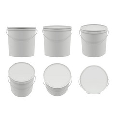 plastic containers empty white buckets mockup vector image