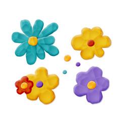 plasticine handmade flowers vector image