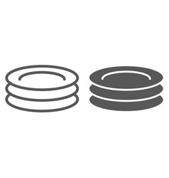 Plates line and glyph icon kitchen and cooking vector