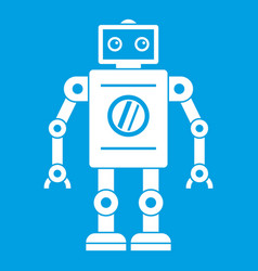Retro robot icon white vector