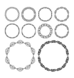 Round doodle border set perfect lace wedding vector