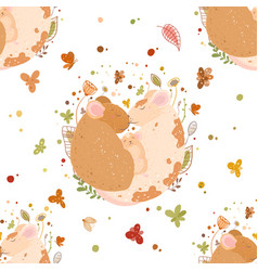 seamless pattern a cute family rats dad mom vector image