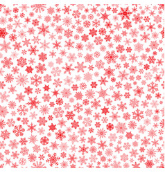 seamless pattern of snowflakes red on white vector image