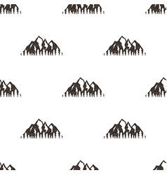 Seamless pattern with mountains in retro hipster vector