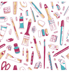 seamless pattern with stationery art and office vector image