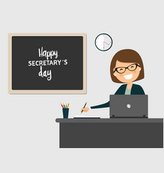 Secretary smiling at workplace on grey background vector