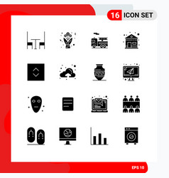 Set 16 modern ui icons symbols signs for up vector