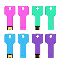 Set colorful usb key flash drive isolated vector