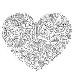 Set latin american cartoon doodle objects vector