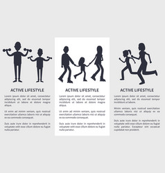 set of active lifestyle cards vector image