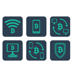 set of icons about online payments with bitcoin vector image